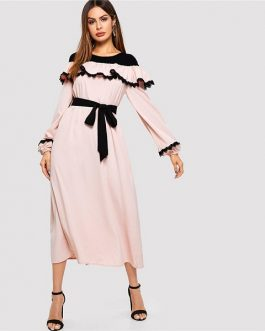 Abaya Pink Lace Applique Ruffle Embellished Belted Maxi Dress