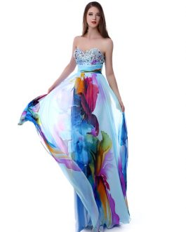 African Floral Print Chiffon Party Prom Dress