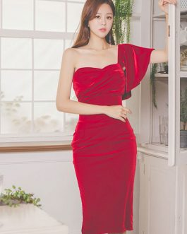 Asymmetrical Neck Shaping Velour Dress