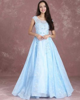 Blue Pageant  Backless Maxi Prom Dresses