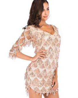 Beaded Fringe Shaping Mini Dress