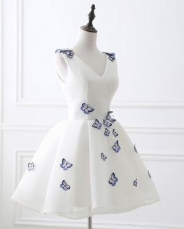 Beautiful Butterfly Appliques Prom Dress Simple Party Gowns