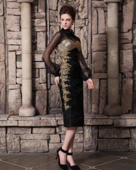 Black Beading Cowl Neck Long Sleeves Sheath Organza Cocktail Dress