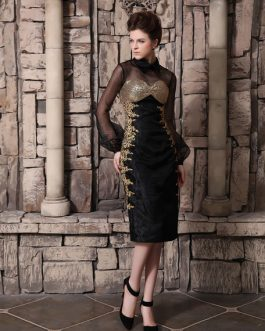Black Beading Cowl Neck Long Sleeves Sheath Organza Cocktail Dress