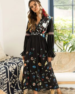 Black Boho Floral Maxi Long Sleeve Plunging Fall Dress