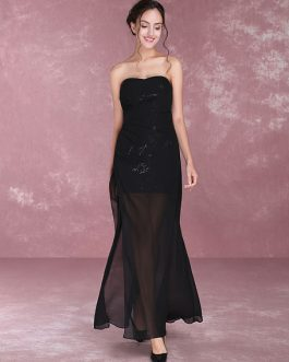 Black Evening Dresses Sexy High Split Illusion Sweetheart Strapless Ankle Length Formal Dress