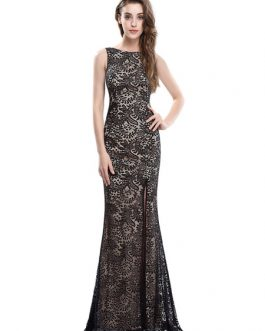 Black Evening Mermaid Backless Occasion Dress With Train