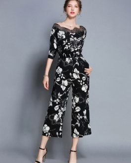 Black Floral Jumpsuit Half Sleeve Round Neck Lace Wide Leg Jumpsuit