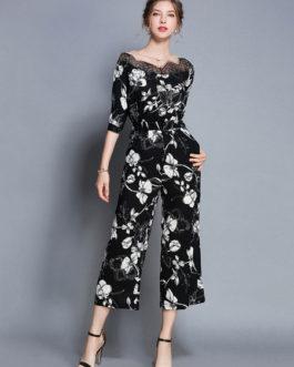 Black Floral Jumpsuit Half Sleeve Round Neck Lace Wide Leg Jumpsuit