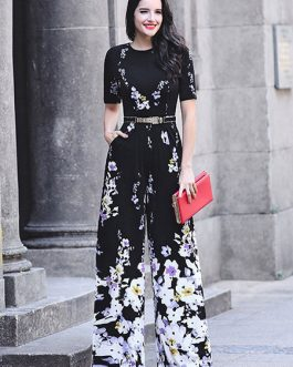 Black Floral Jumpsuit Short Sleeve Wide Leg Jumpsuit