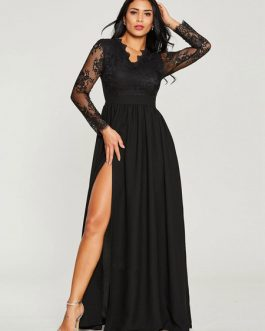 Black Maxi Dress Lace V Neck Long Sleeve Evening Dress