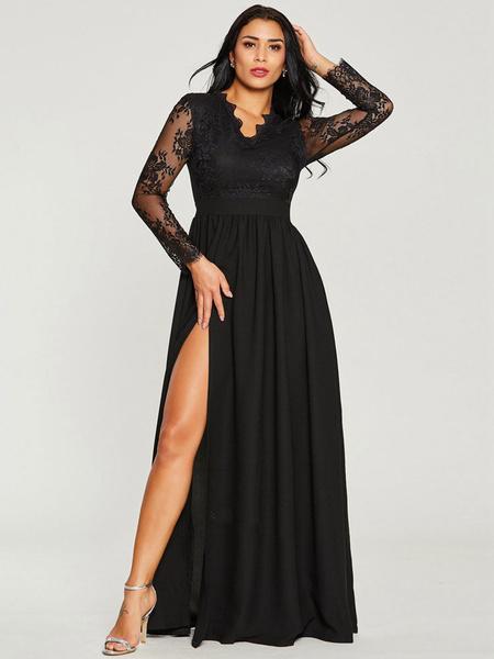 5f670cb194c Black Maxi Dress Lace V Neck Long Sleeve Evening Dress - Power Day Sale