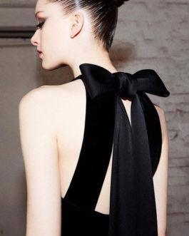 Black Maxi Dress Sleeveless Crewneck Bows Cut Out Party Dress