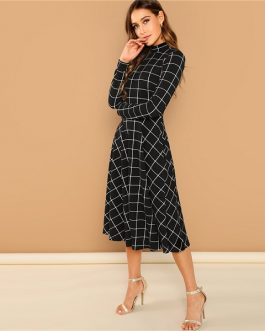 Black Plaid Print High Neck Fit And Flare Long Sleeve High Waist Dress
