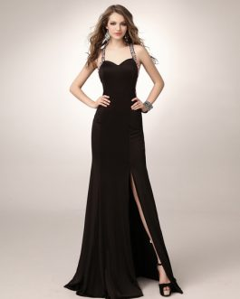 Black Prom Long Mermaid Halter Evening Formal Dress