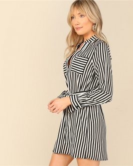 Black and White Notch Neck Belted Striped Shirt Dress