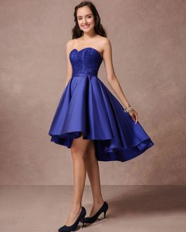 Blue Prom Dress Short Satin Homecoming Dress Strapless Backless High Low Cocktail Dress