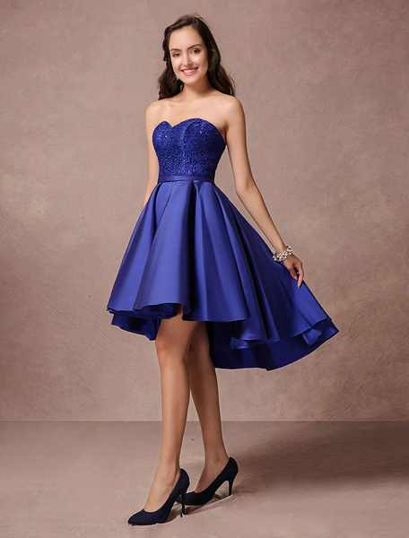 e3bf677ea794 Blue Prom Dress Short Satin Homecoming Dress Strapless Backless High Low Cocktail  Dress