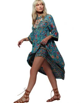 Boho Dress Full Sleeve Loose Printed Shift Long Dress