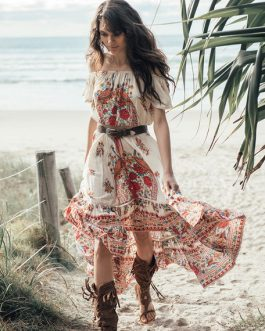 Boho Dress Off The Shoulder Printed Summer Dress