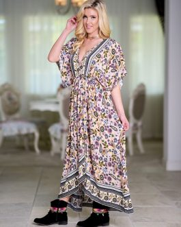Boho Half Sleeve Plunging Neck Printed Maxi Dress