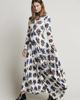 Boho Long Sleeve High Split Printed Maxi Dress