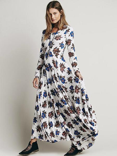8ff74c0570a5 Boho Long Sleeve High Split Printed Maxi Dress - Power Day Sale