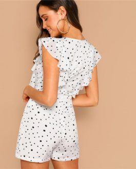 Boho White Ruffle Polka Dot Romper Women Summer Dress
