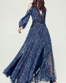 Chiffon Maxi Dress Boho Long Sleeve V Neck Pom Poms Printed Party Dress