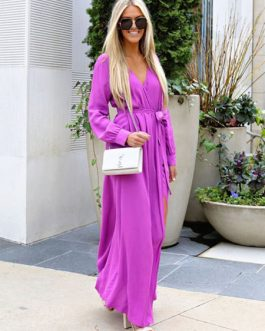 Chiffon Maxi Dress Long Sleeve V Neck Solid Color Fall Dress