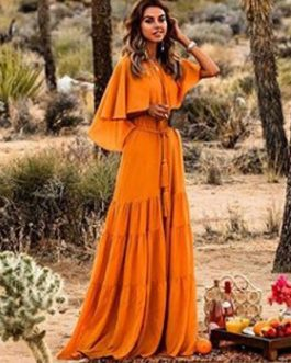 Chiffon Maxi Dress Round Neck Cape Shoulder Casual Dress