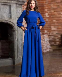 Chiffon Maxi Dress Round Neck Pockets Party Dress