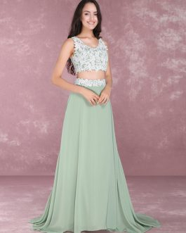 Chiffon Prom Two Piece Beading Occasion Party Dresses