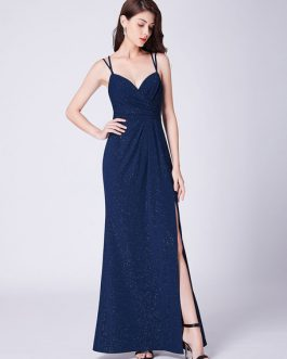 Evening Dresses Dark Navy Straps High Split Prom Dress Maxi Bridesmaid Dresses