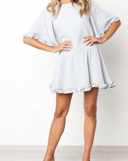 Fashion Half Sleeve Ruffle Pleated Female Shirt Summer Dresses