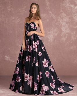 Floral Black Sweatheart Strapless Long Prom Dress