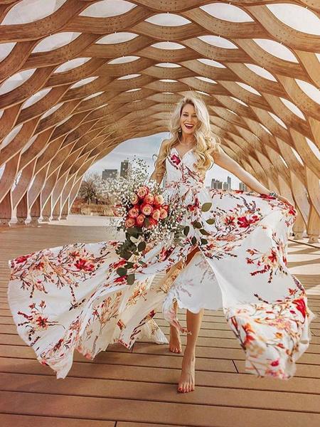 fdfc1db03606 Floral Maxi Dress Chiffon Wrap Dress Women Split Summer Dress ...