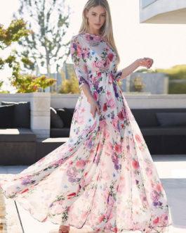Floral Maxi Dress Half Sleeve Crewneck Semi Sheer Chiffon Dress