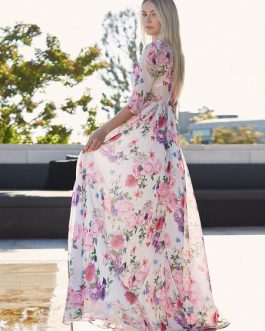 Floral Maxi Dress Half Sleeve Crewneck Semi Sheer Chiffon Dress