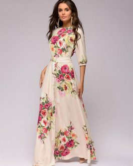 Floral Maxi Dress Half Sleeve Round Neck Tie Waist Ecru White Dress