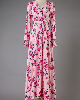 Floral Maxi Dress Long Sleeve Boho Dress V Neck Split Pink Fall Dress