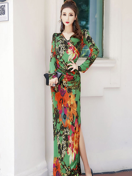 0fa4b75f9d Floral Maxi Dress Long Sleeve Dress V Neck Split Gree Tropical Dress ...