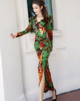 Floral Maxi Dress Long Sleeve Dress V Neck Split Gree Tropical Dress