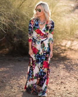 Floral Maxi Dress V Neck Matte Satin Sash Dress