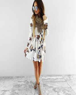 Floral Print Pleated Mini Women Dresses