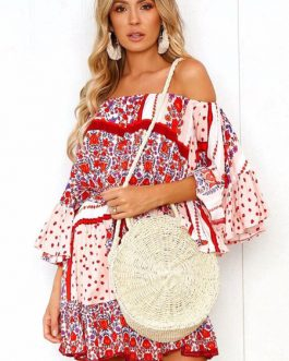 Floral Summer Off Shoulder Boho Flared Dress