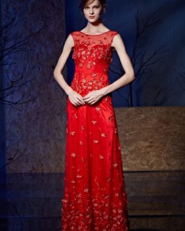 Formal Evening Luxury Embroideries 3D Flowers Applique Party Dress