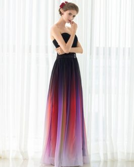 Gladient Chiffon Sweetheart Evening Prom  Dress