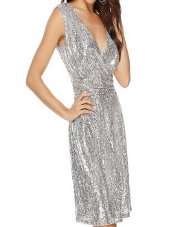Glitter Sequin Summer Spring Sleeveless Wrap Party Dress