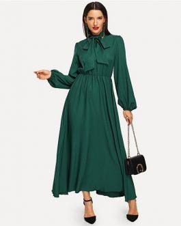 Green Lantern Sleeve Tied Neck Cotton Dress